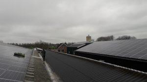 schoonmaken zonnepanelen op verschillende staldaken van boerderij